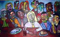 last supper, acrylic on canvas, 85 x 48in